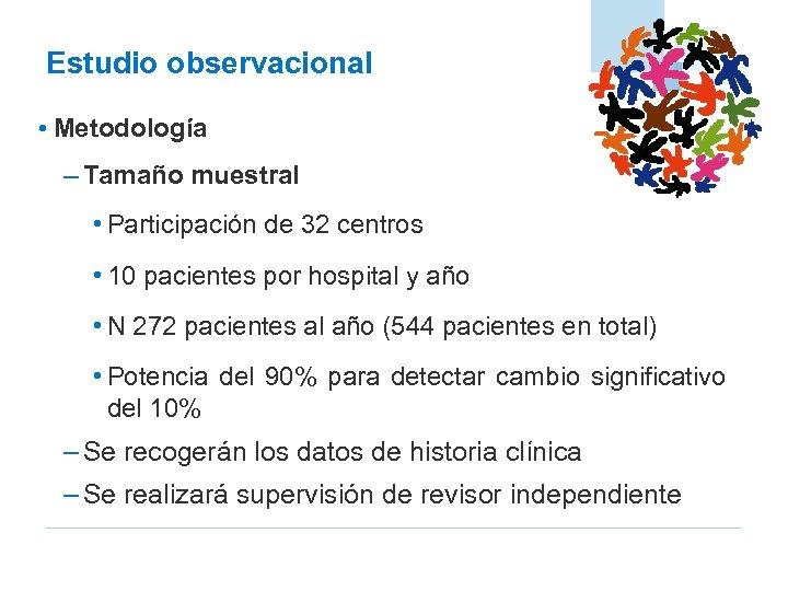 Estudio observacional • Metodología – Tamaño muestral • Participación de 32 centros • 10