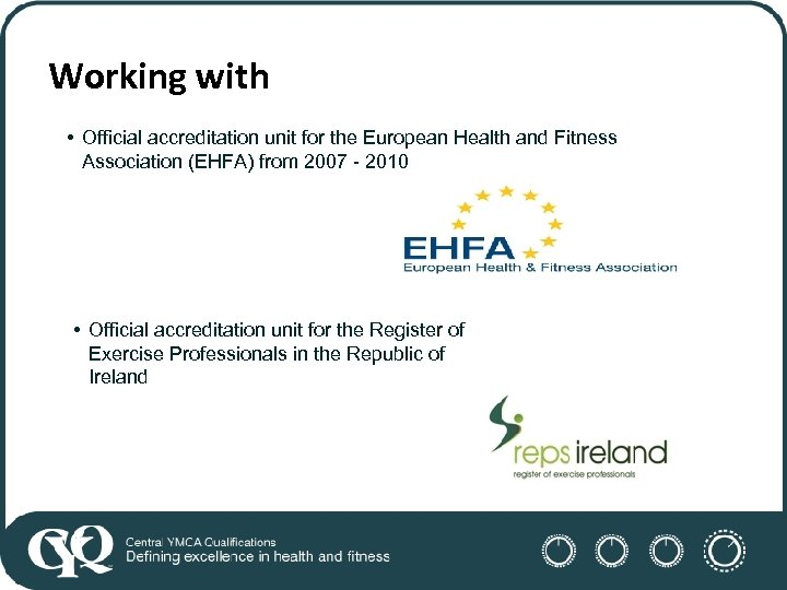 Working with • Official accreditation unit for the European Health and Fitness Association (EHFA)