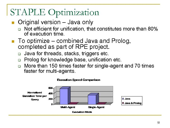 STAPLE Optimization n Original version – Java only q n Not efficient for unification,