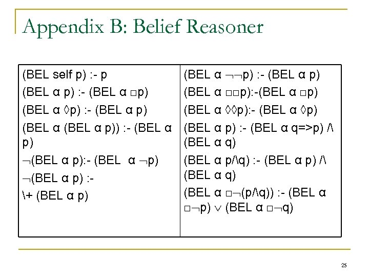 Appendix B: Belief Reasoner (BEL self p) : - p (BEL α p) :