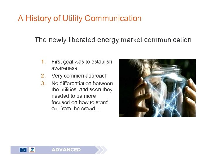 A History of Utility Communication The newly liberated energy market communication 1. 2. 3.