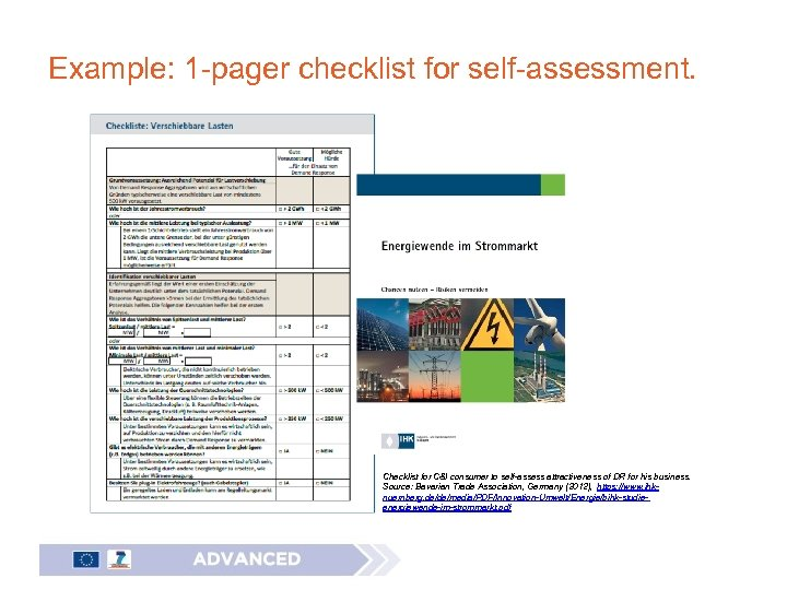 Example: 1 -pager checklist for self-assessment. Checklist for C&I consumer to self-assess attractiveness of