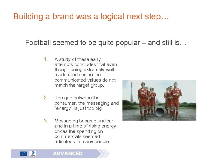 Building a brand was a logical next step… Football seemed to be quite popular
