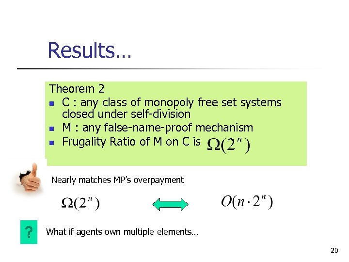 Results… Theorem 2 n C : any class of monopoly free set systems closed