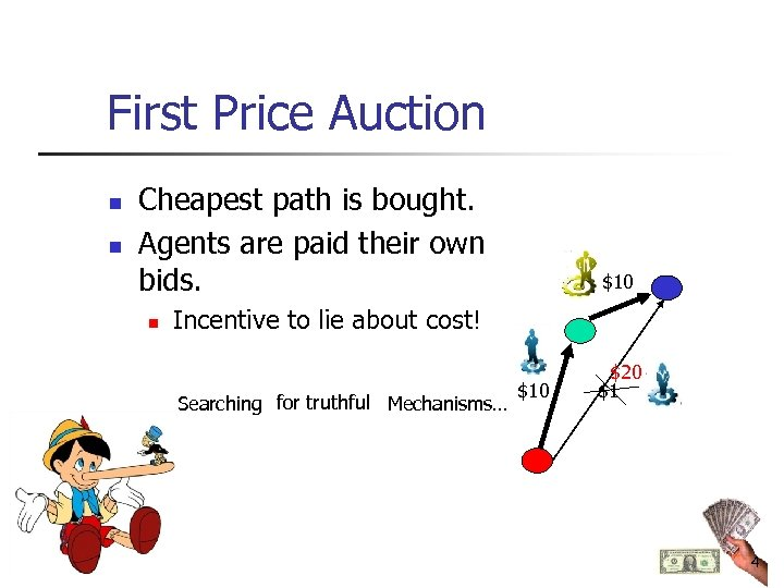 First Price Auction n n Cheapest path is bought. Agents are paid their own