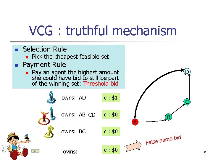 VCG : truthful mechanism n Selection Rule n n Pick the cheapest feasible set