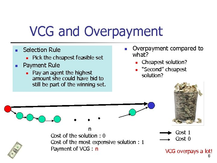 VCG and Overpayment n Selection Rule n n Pick the cheapest feasible set Payment