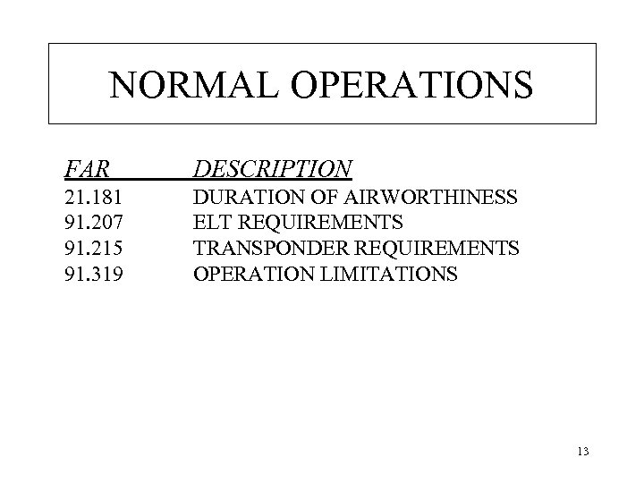 NORMAL OPERATIONS FAR DESCRIPTION 21. 181 91. 207 91. 215 91. 319 DURATION OF