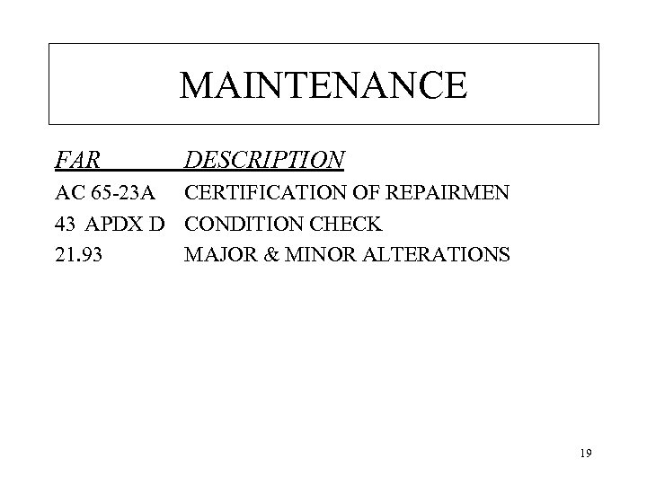 MAINTENANCE FAR DESCRIPTION AC 65 -23 A CERTIFICATION OF REPAIRMEN 43 APDX D CONDITION
