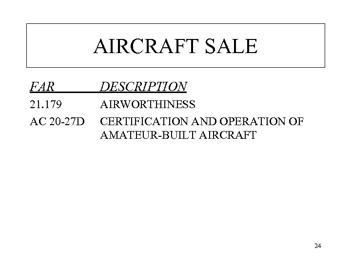 AIRCRAFT SALE FAR DESCRIPTION 21. 179 AC 20 -27 D AIRWORTHINESS CERTIFICATION AND OPERATION