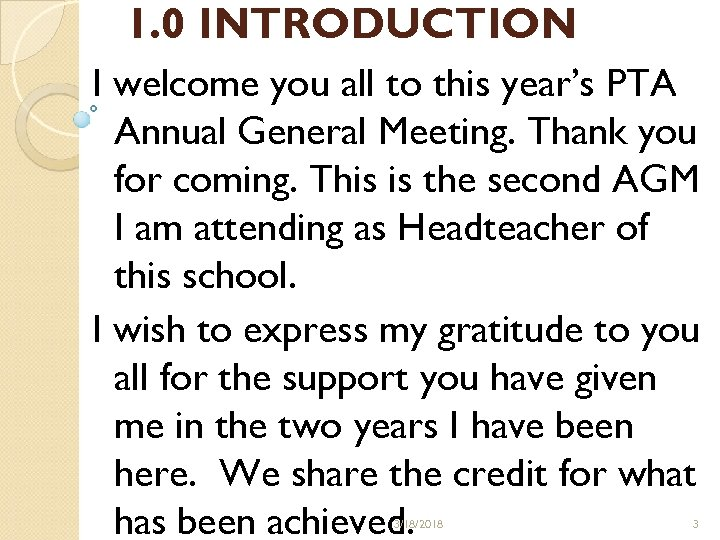 SCHOOL REPORT TO PTA ANNUAL GENERAL MEETING ON