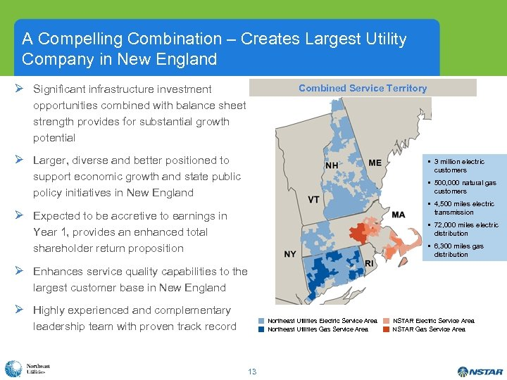 A Compelling Combination – Creates Largest Utility Company in New England Ø Significant infrastructure