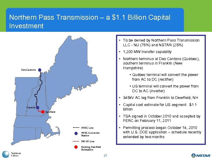 Northern Pass Transmission – a $1. 1 Billion Capital ´ Investment • To be