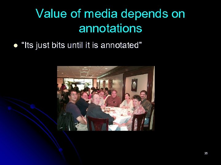"""Value of media depends on annotations l """"Its just bits until it is annotated"""""""