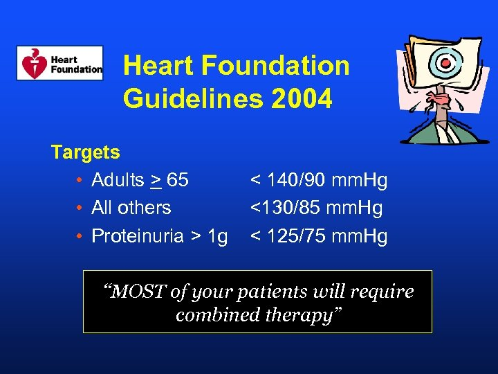 Heart Foundation Guidelines 2004 Targets • Adults > 65 • All others • Proteinuria