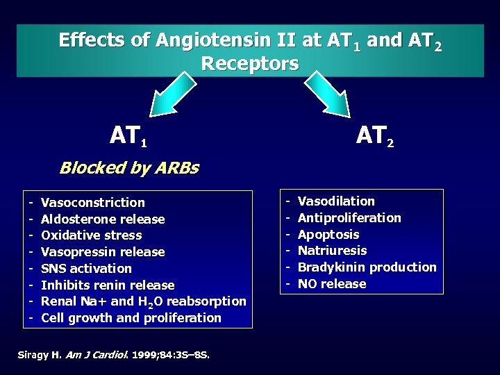 Effects of Angiotensin II at AT 1 and AT 2 Receptors AT 1 AT
