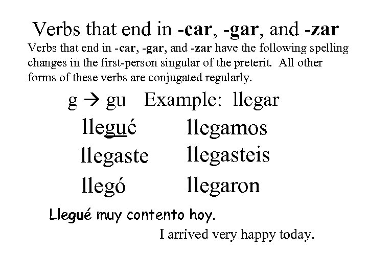Verbs that end in -car, -gar, and -zar have the following spelling changes in