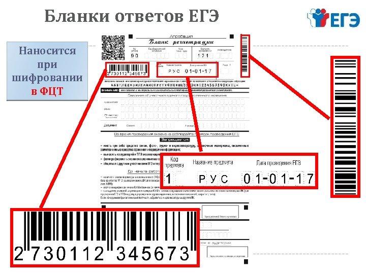 Бланки ответов ЕГЭ Наносится при шифровании в ФЦТ