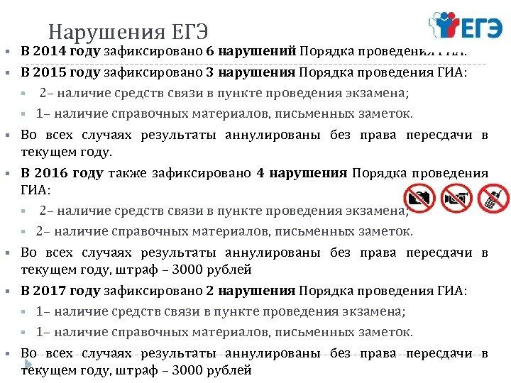 Нарушения ЕГЭ § В 2014 году зафиксировано 6 нарушений Порядка проведения ГИА. § В