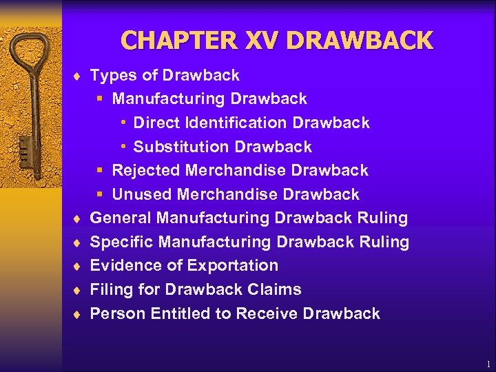 CHAPTER XV DRAWBACK ¨ Types of Drawback ¨ ¨ ¨ § Manufacturing Drawback •