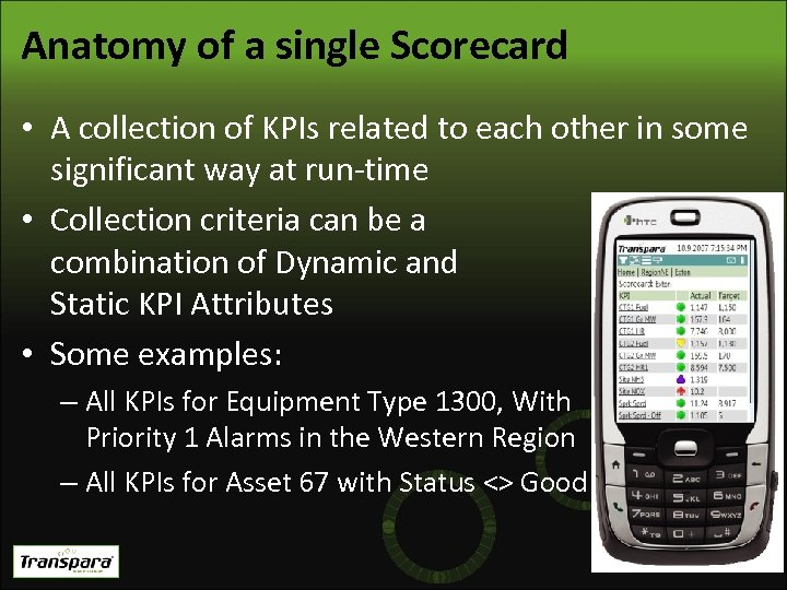 Anatomy of a single Scorecard • A collection of KPIs related to each other