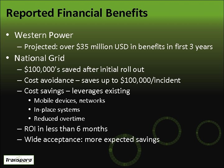 Reported Financial Benefits • Western Power – Projected: over $35 million USD in benefits