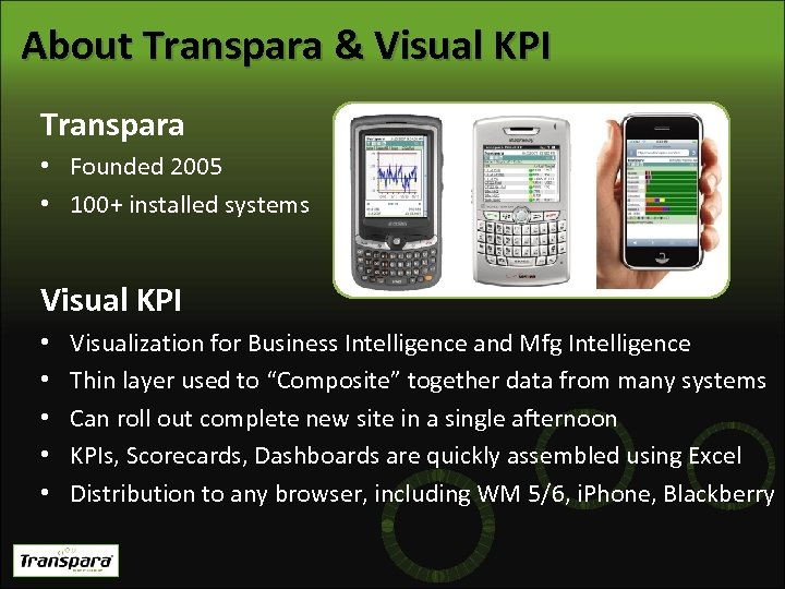 About Transpara & Visual KPI Transpara • Founded 2005 • 100+ installed systems Visual