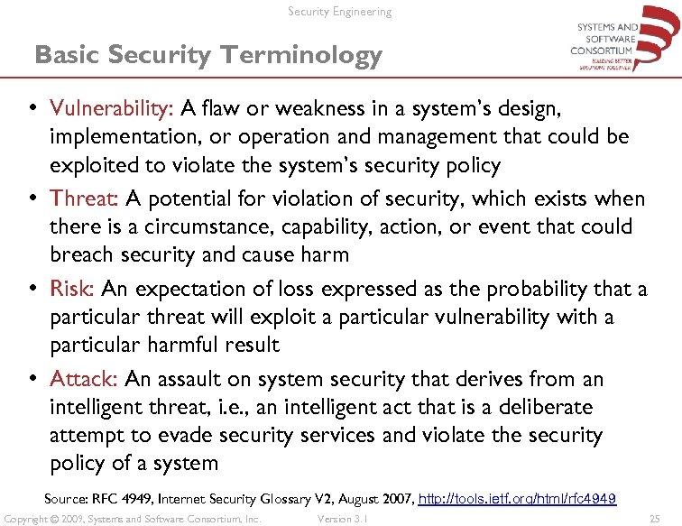 Security Engineering Basic Security Terminology • Vulnerability: A flaw or weakness in a system's