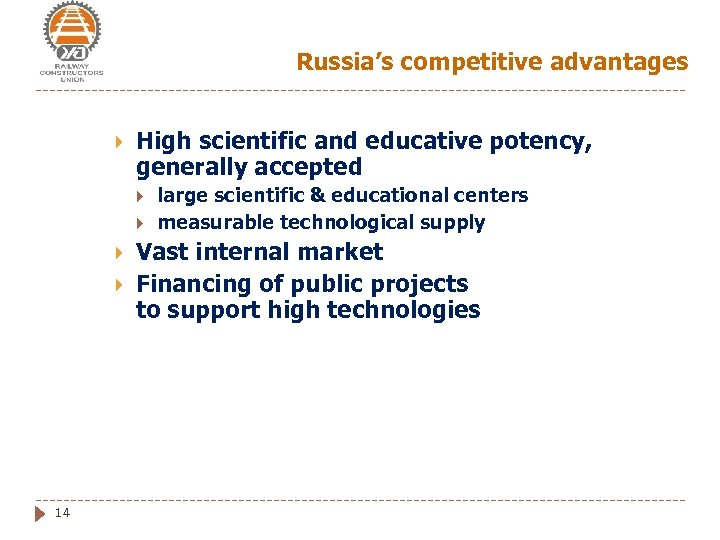 Russia's competitive advantages High scientific and educative potency, generally accepted 14 large scientific &