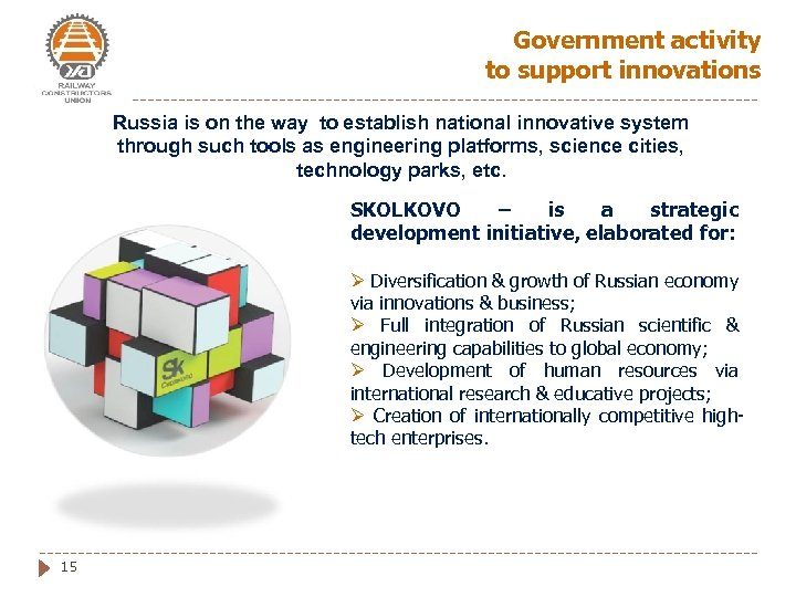 Government activity to support innovations Russia is on the way to establish national innovative