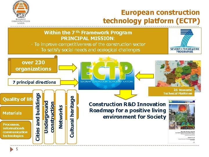 European construction technology platform (ECTP) Within the 7 th. Framework Program PRINCIPAL MISSION: -