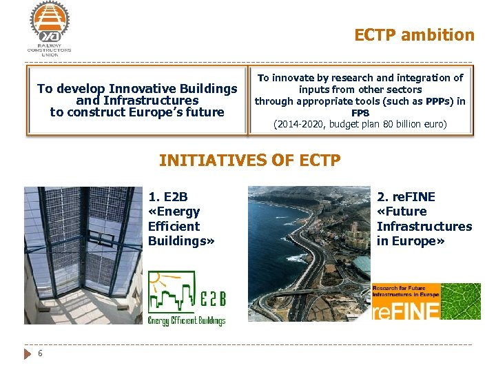 ECTP ambition To develop Innovative Buildings and Infrastructures to construct Europe's future To innovate