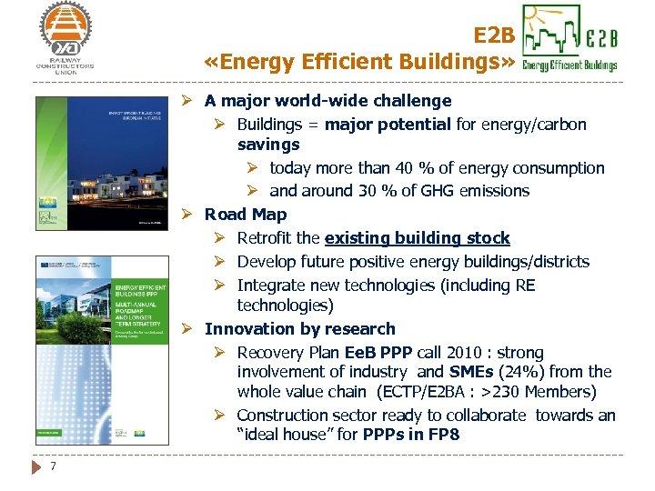 Е 2 В «Energy Efficient Buildings» Ø A major world-wide challenge Ø Buildings =