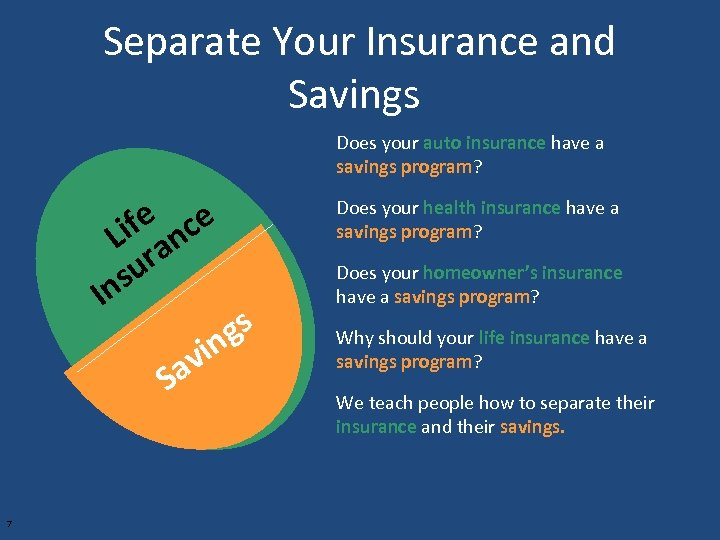 Separate Your Insurance and Savings Does your auto insurance have a savings program? ife