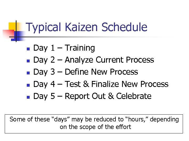 Typical Kaizen Schedule n n n Day 1 – Training Day 2 – Analyze