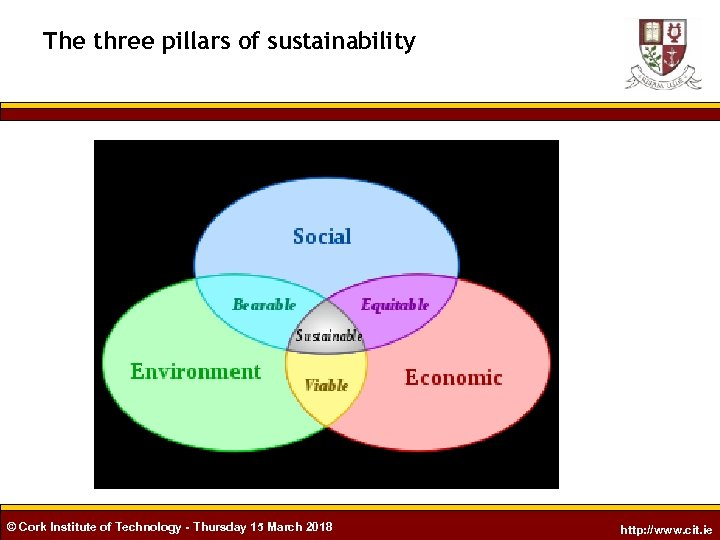 The three pillars of sustainability © Cork Institute of Technology - Thursday 15 March