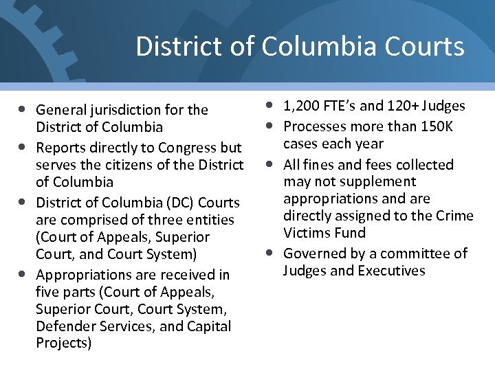 District of Columbia Courts General jurisdiction for the District of Columbia Reports directly to