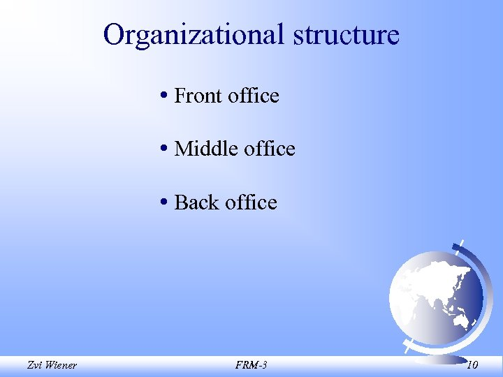 Organizational structure • Front office • Middle office • Back office Zvi Wiener FRM-3