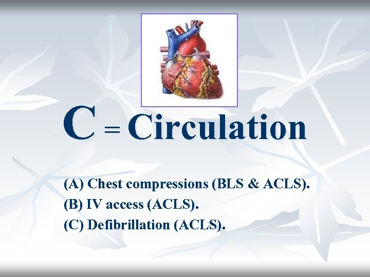 C = Circulation (A) Chest compressions (BLS & ACLS). (B) IV access (ACLS). (C)
