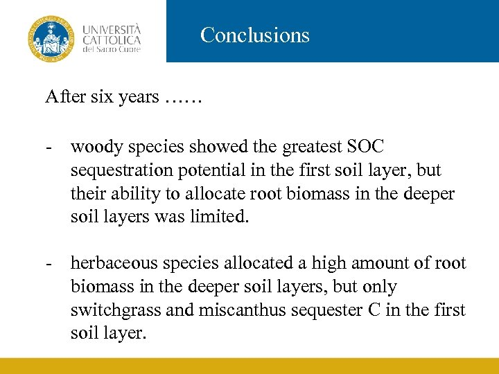 Conclusions After six years …… - woody species showed the greatest SOC sequestration potential