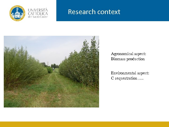 Research context Agronomical aspect: Biomass production Environmental aspect: C sequestration ….