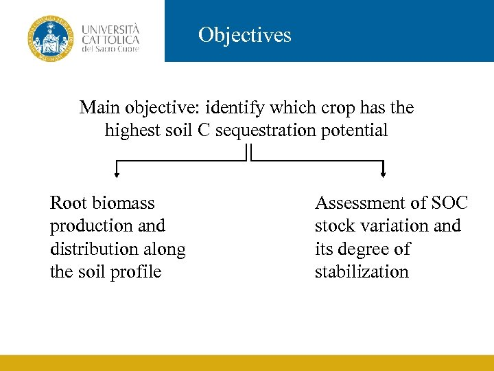 Objectives Main objective: identify which crop has the highest soil C sequestration potential Root