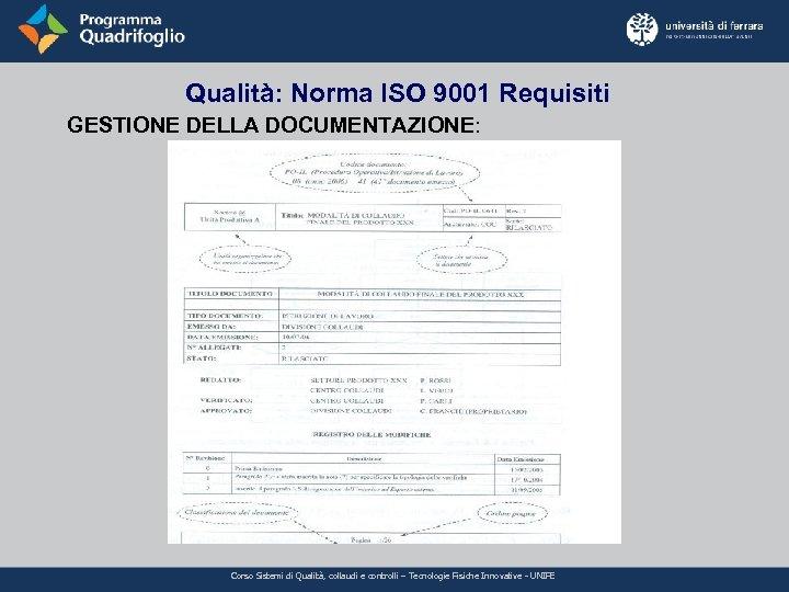 Qualità: Norma ISO 9001 Requisiti GESTIONE DELLA DOCUMENTAZIONE: Corso Sistemi di Qualità, collaudi e