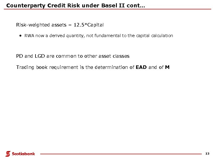 Counterparty Credit Risk under Basel II cont… Risk-weighted assets = 12. 5*Capital • RWA
