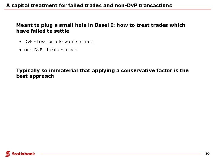 A capital treatment for failed trades and non-Dv. P transactions Meant to plug a