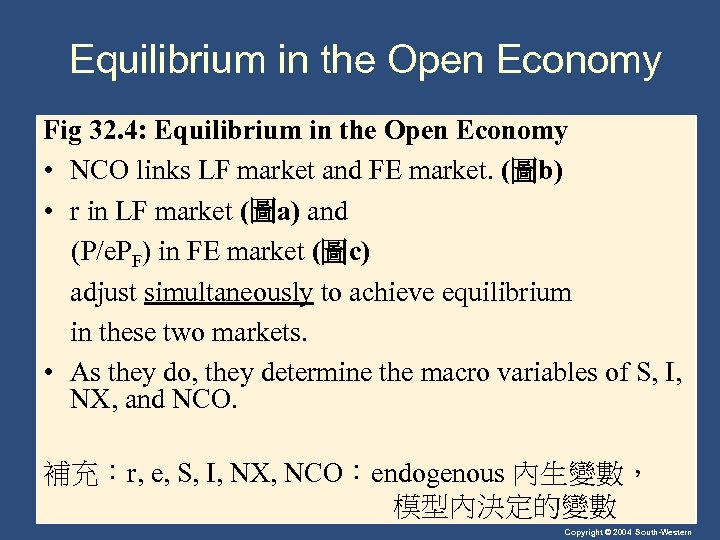 Equilibrium in the Open Economy Fig 32. 4: Equilibrium in the Open Economy •