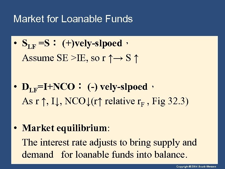 Market for Loanable Funds • SLF =S: (+)vely-slpoed, Assume SE >IE, so r ↑→