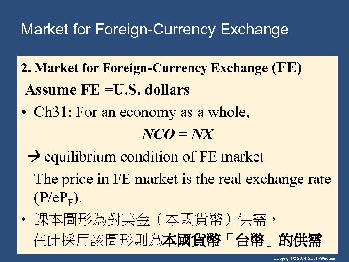 Market for Foreign-Currency Exchange 2. Market for Foreign-Currency Exchange (FE) Assume FE =U. S.