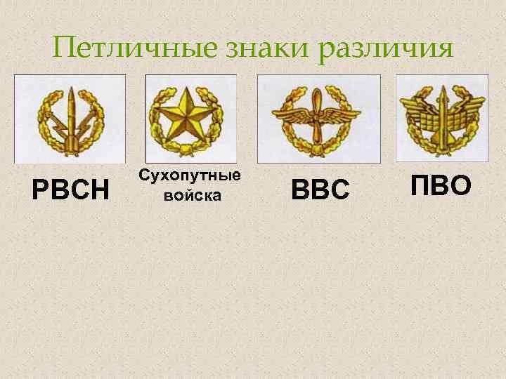 Петличные знаки различия РВСН Сухопутные войска ВВС ПВО