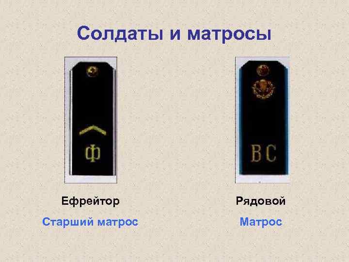 Солдаты и матросы Ефрейтор Рядовой Старший матрос Матрос